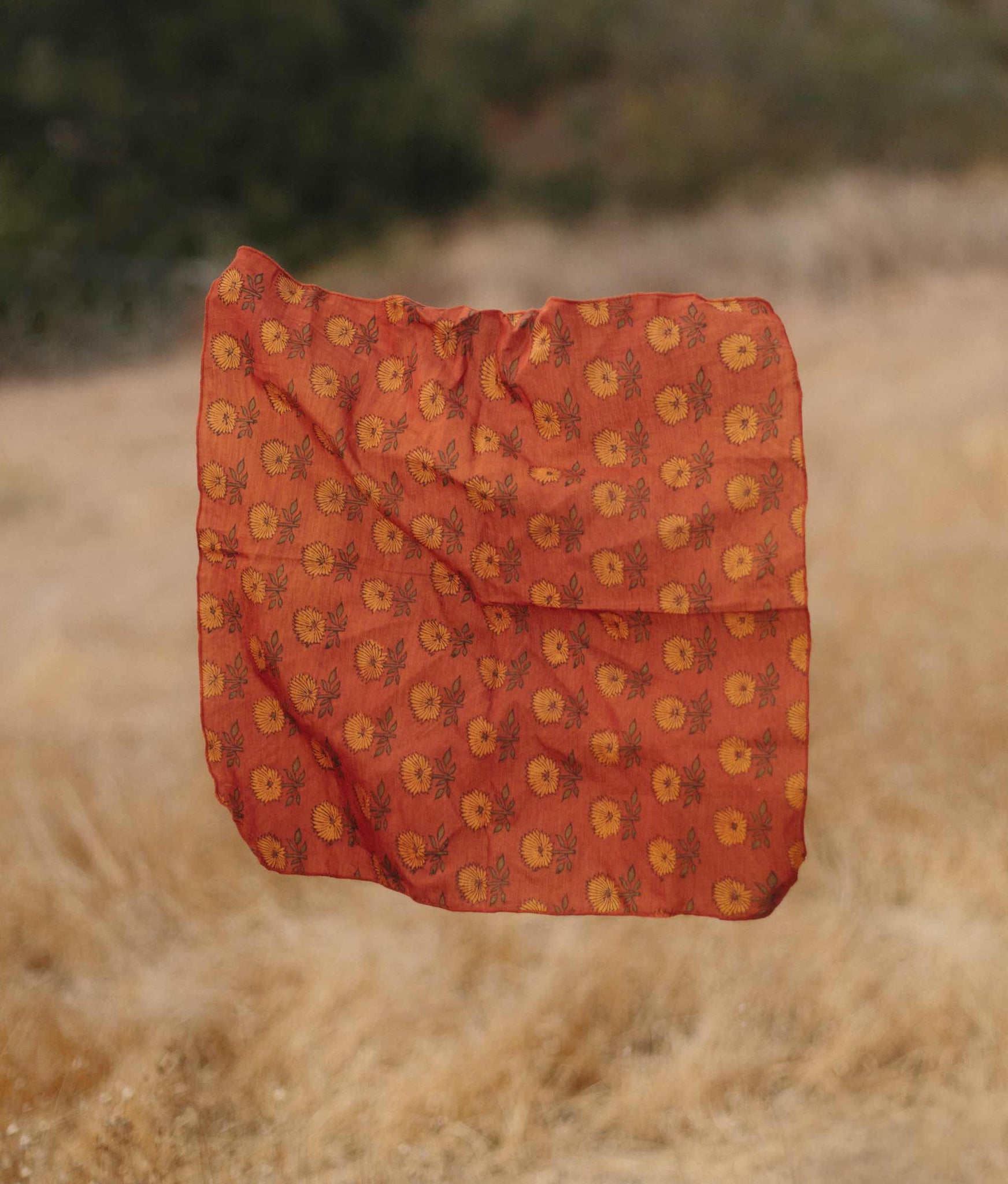 The Natural Fiber Bandana | Golden Sunflower Silk-Cotton (Block Printed)