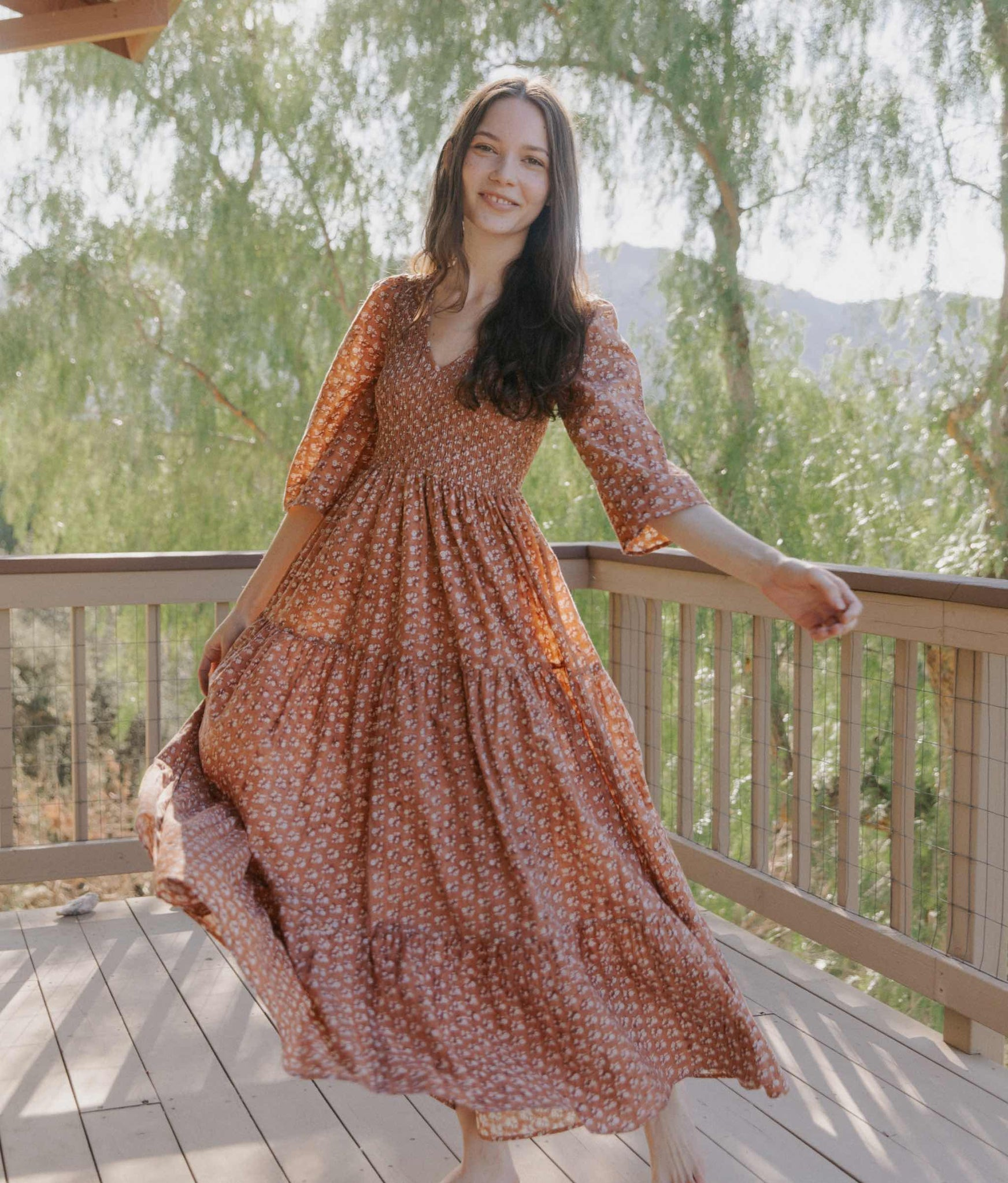 The Basil Dress | Rust Meadow (Block Printed & 1-of-a-Kind)