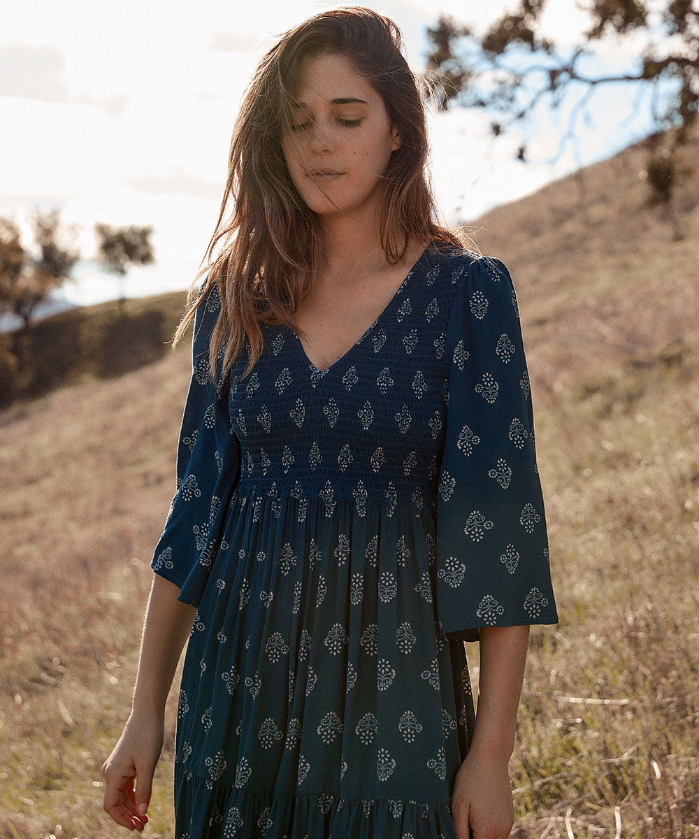 The Basil Dress | Palmette Azul
