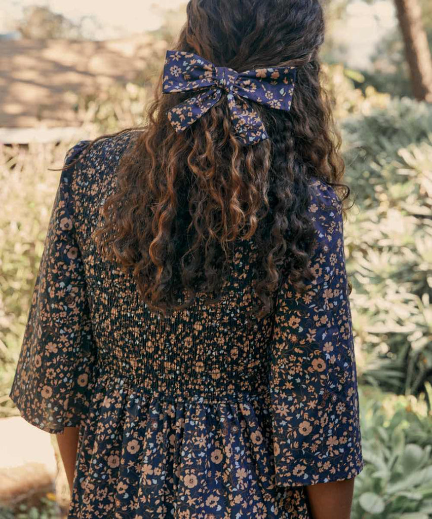 The Basil Dress | Navy Anemone Vine