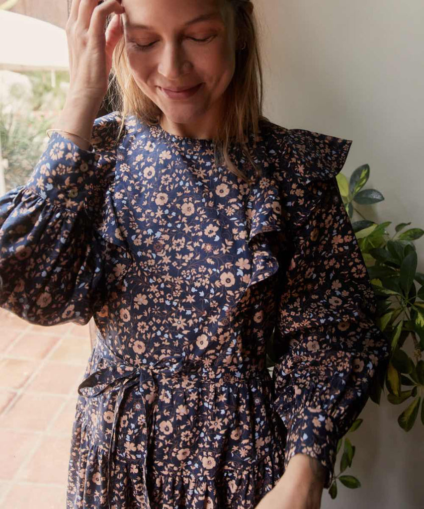 The Beau Dress | Navy Anemone Vine