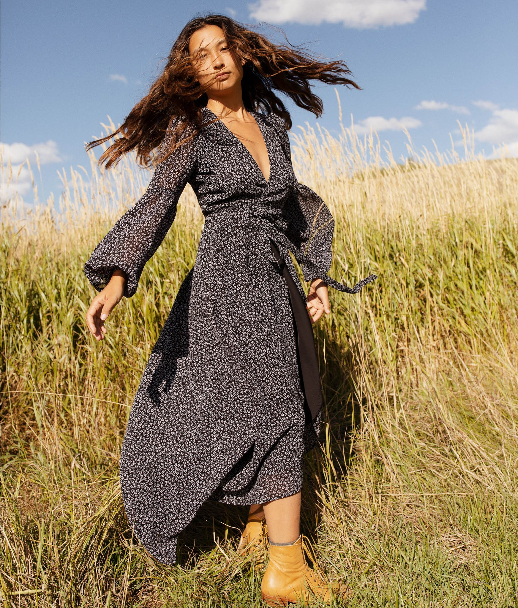 The Bergen Dress | Charcoal Meadow