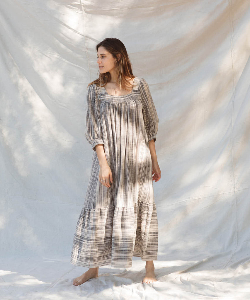 The Bianca Dress | Washed Noir Stripe