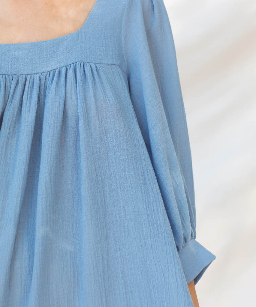 The Bianca Dress | Woven Cerulean image 20