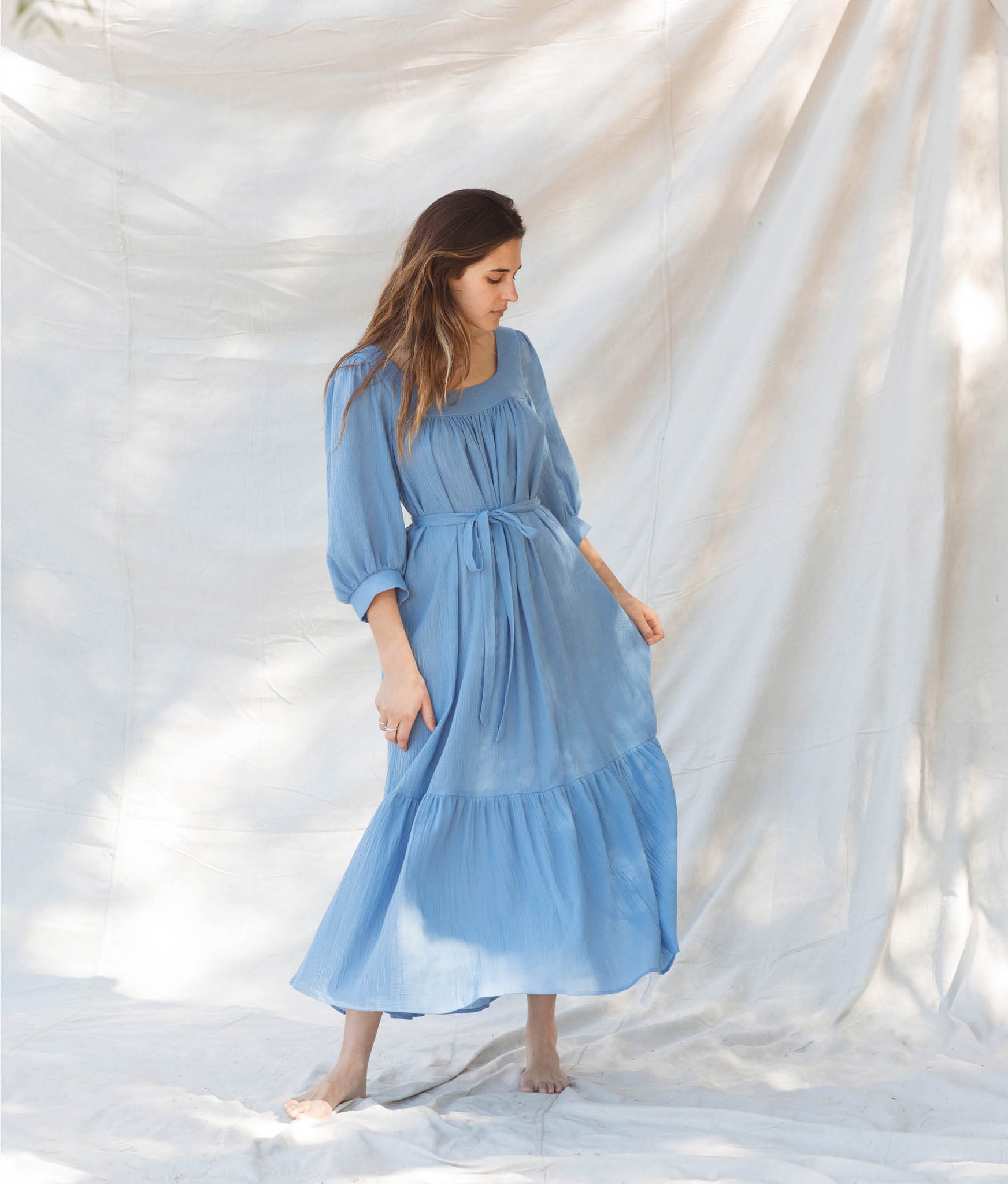 The Bianca Dress | Woven Cerulean