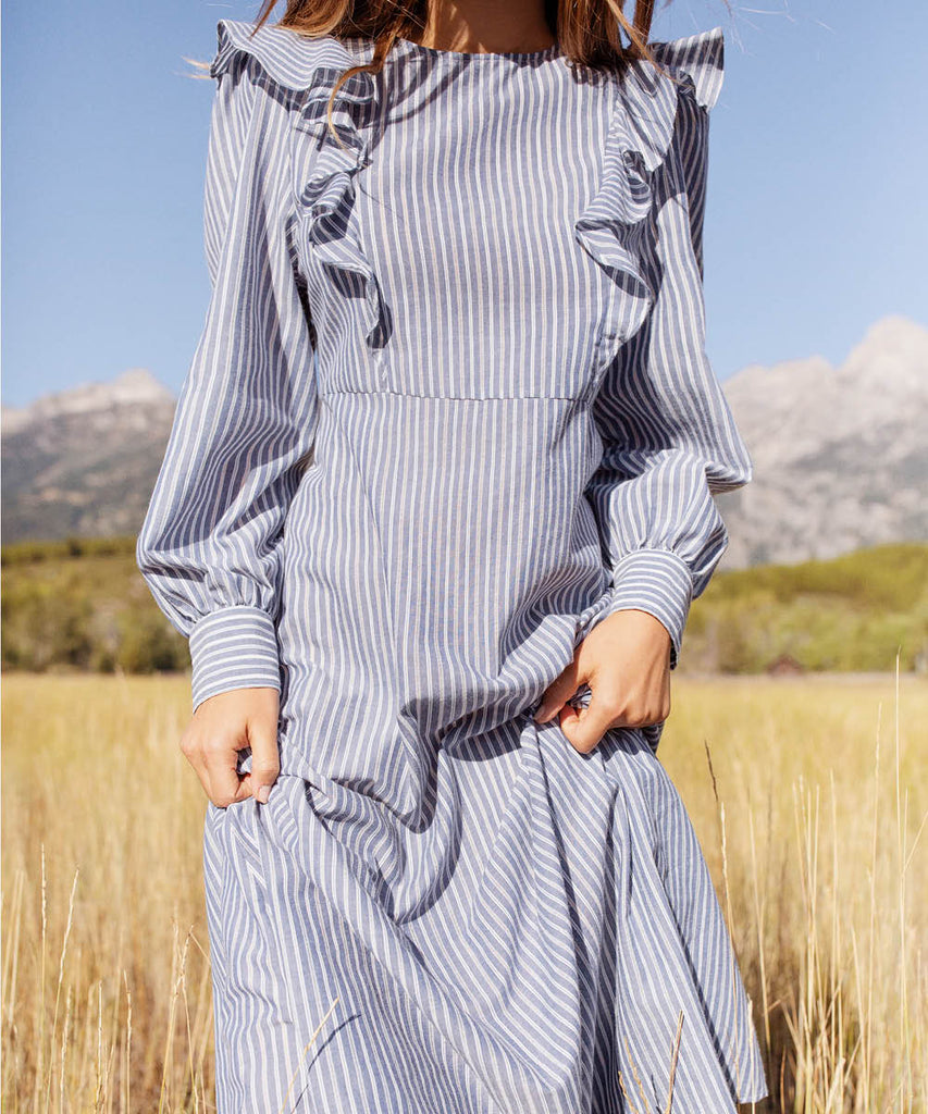 The Birdie Dress | Larkspur Stripe image 11