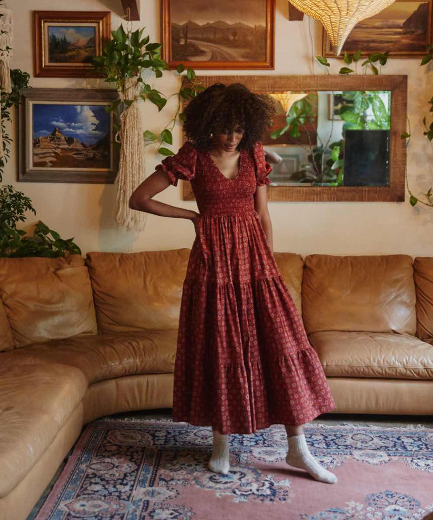 The Brooklyn Dress | Crimson Daisy Field (Block Printed)