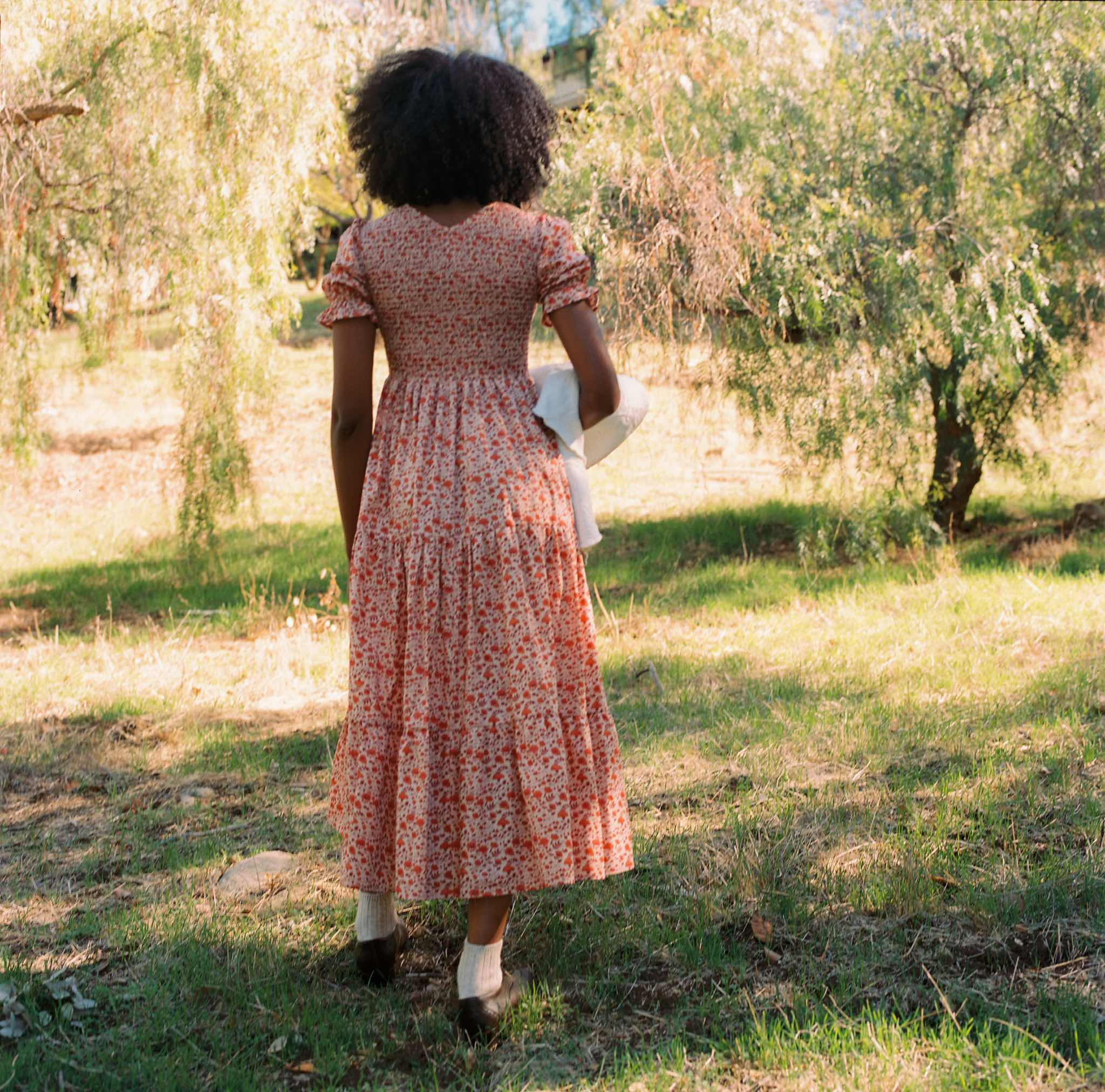 The Brooklyn Dress | Mandarin Ditsy Field