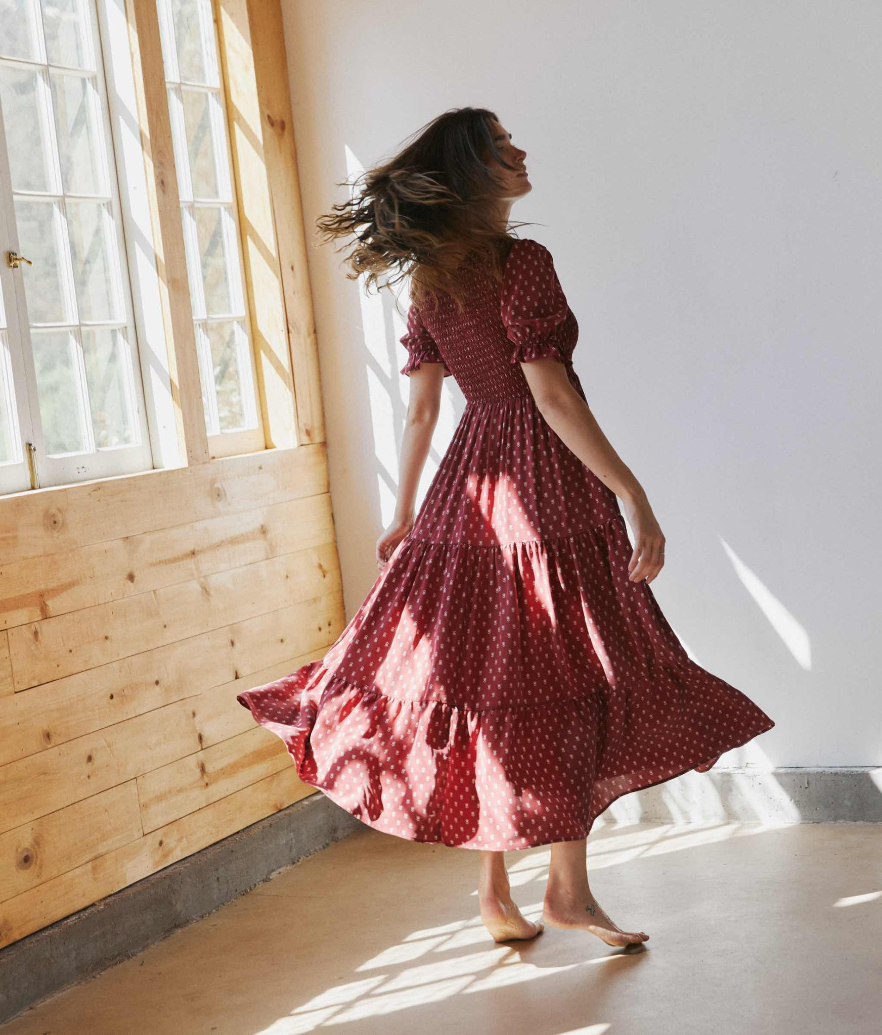 The Brooklyn Dress | Dusty Crimson Silk