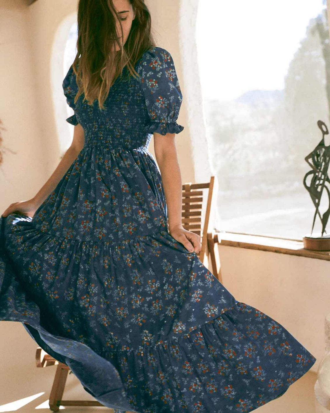 The Brooklyn Dress | Lapis Daisy Vine (Block Printed)