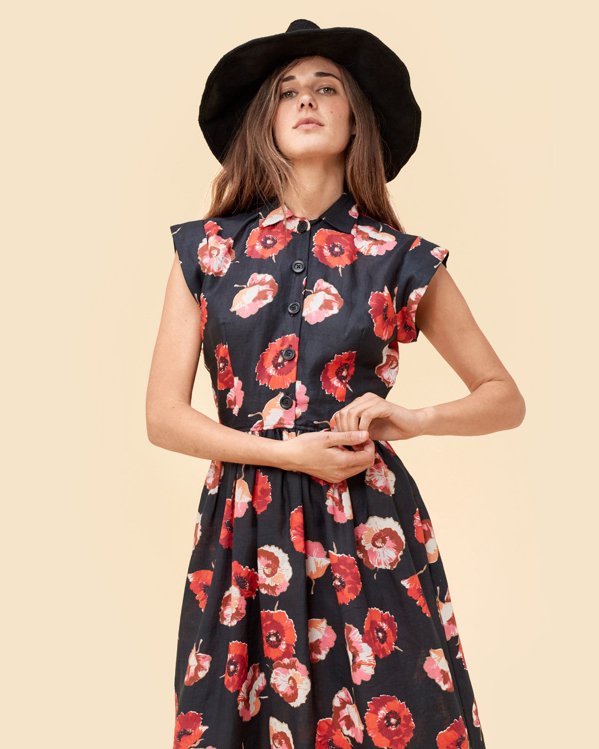 The Piper Dress | Black and Red Floral