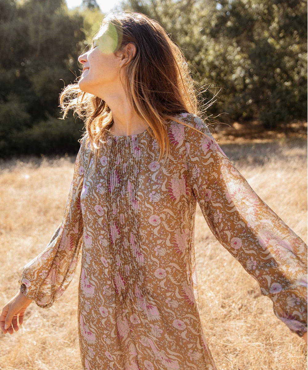 The Camille Dress | Olive Petal Paisley