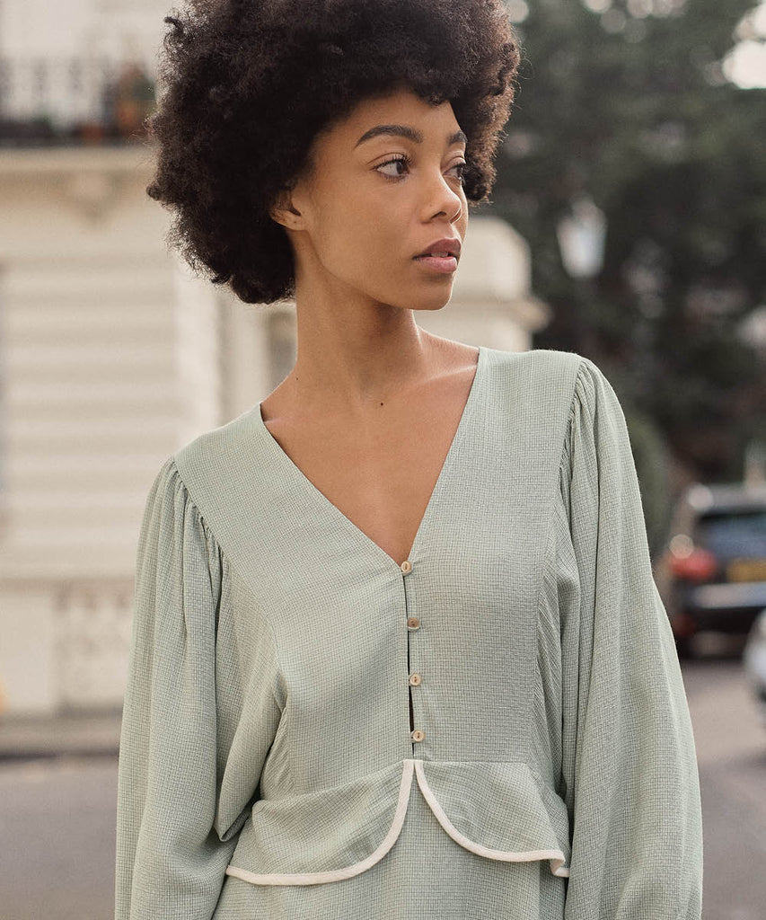 The Cicely Dress | Woven Mint image 5