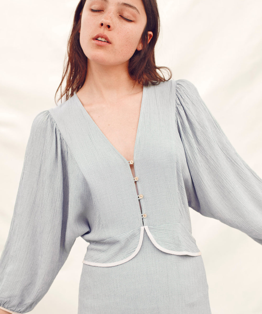 The Cicely Dress | Sky Basketweave