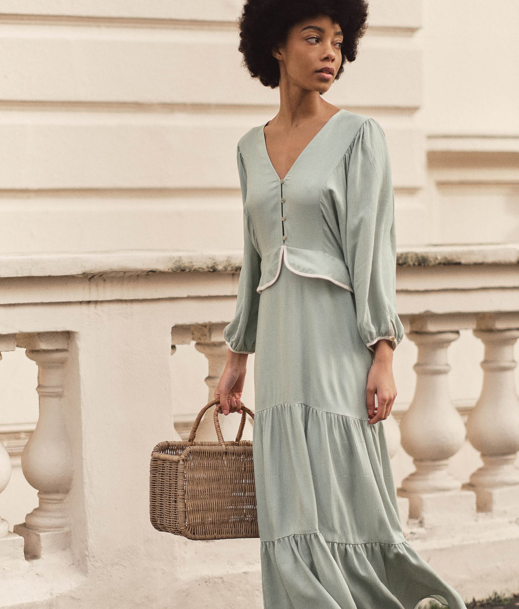 The Cicely Dress | Woven Mint