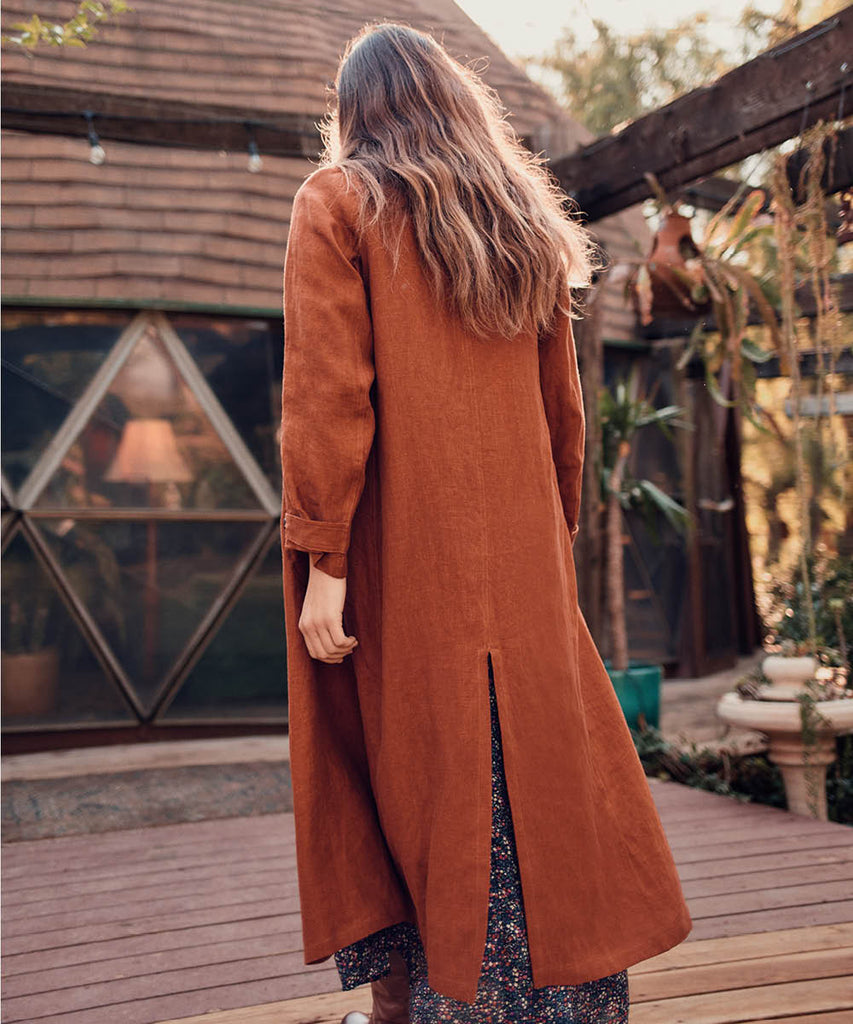 The Clara Coat | Rust Linen image 4
