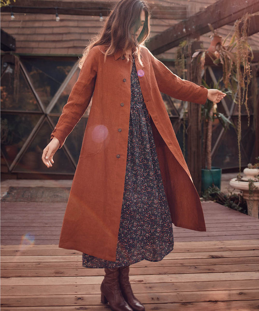 The Clara Coat | Rust Linen image 8