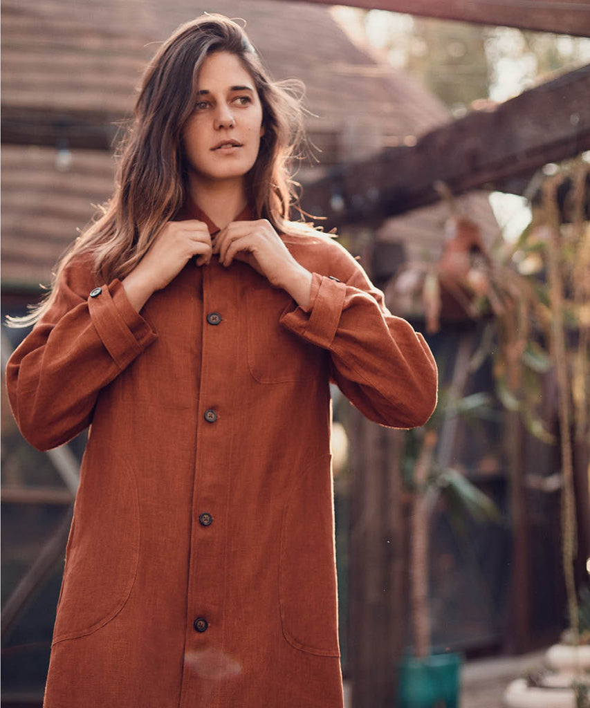 The Clara Coat | Rust Linen image 10