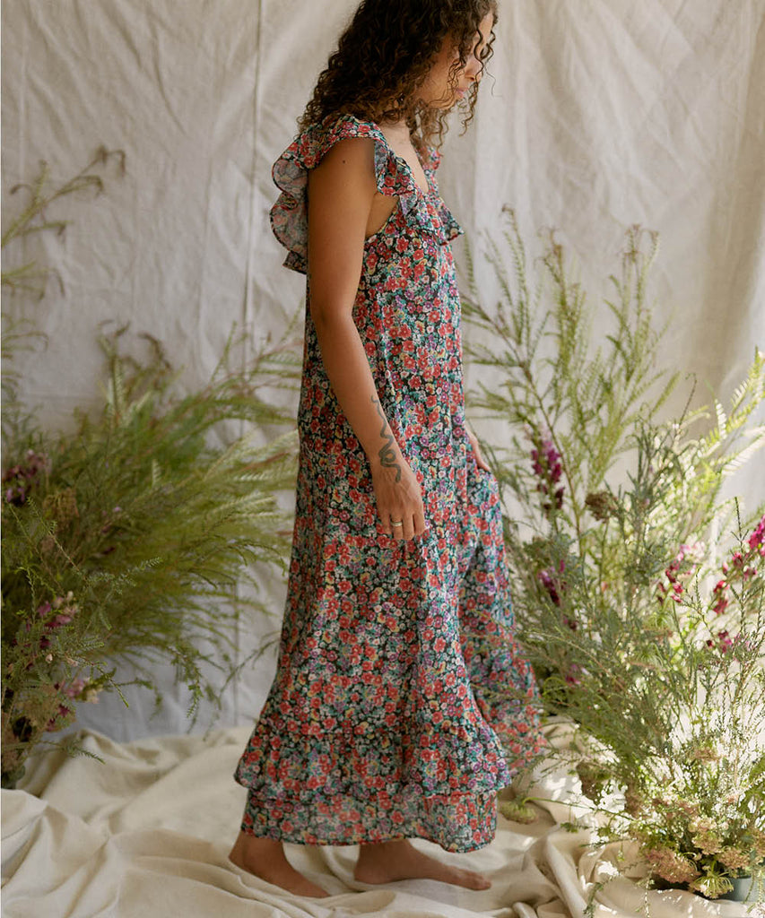 The Colette Dress | Berry Wildflower (Imperfect)