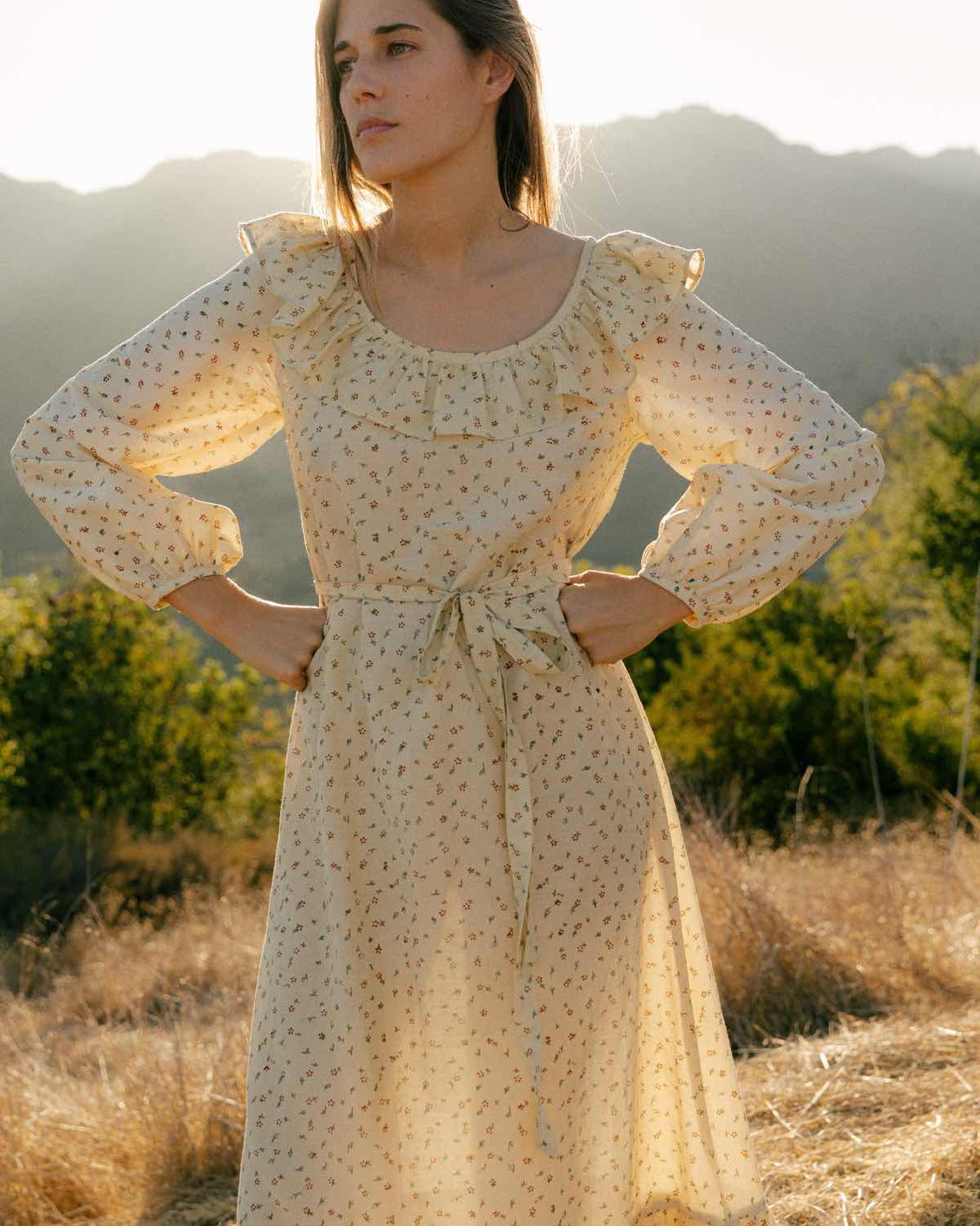 The Conley Dress | Natural Ditsy Silk-Cotton (Block Printed)