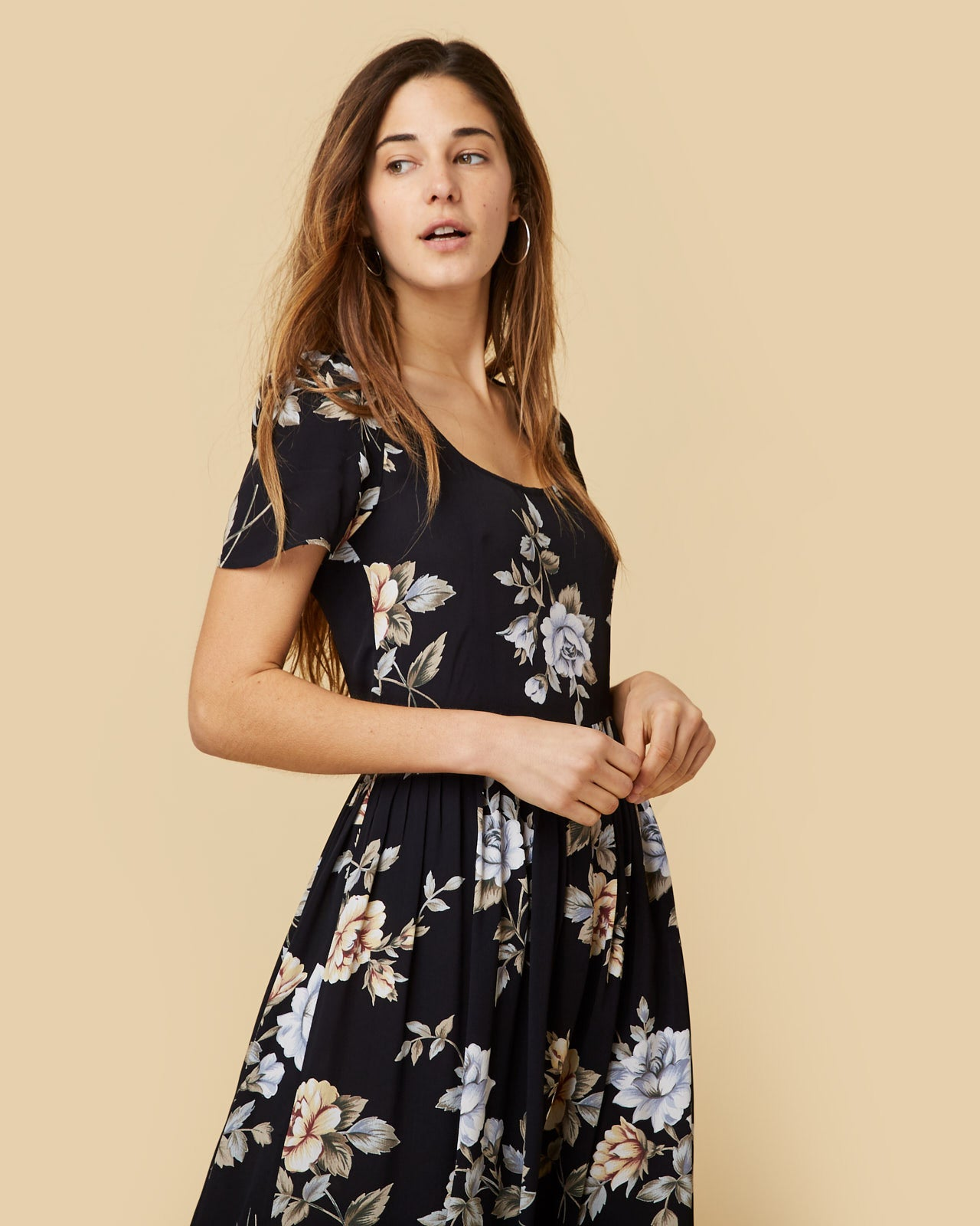 The Scarlet Dress | Large Black Floral