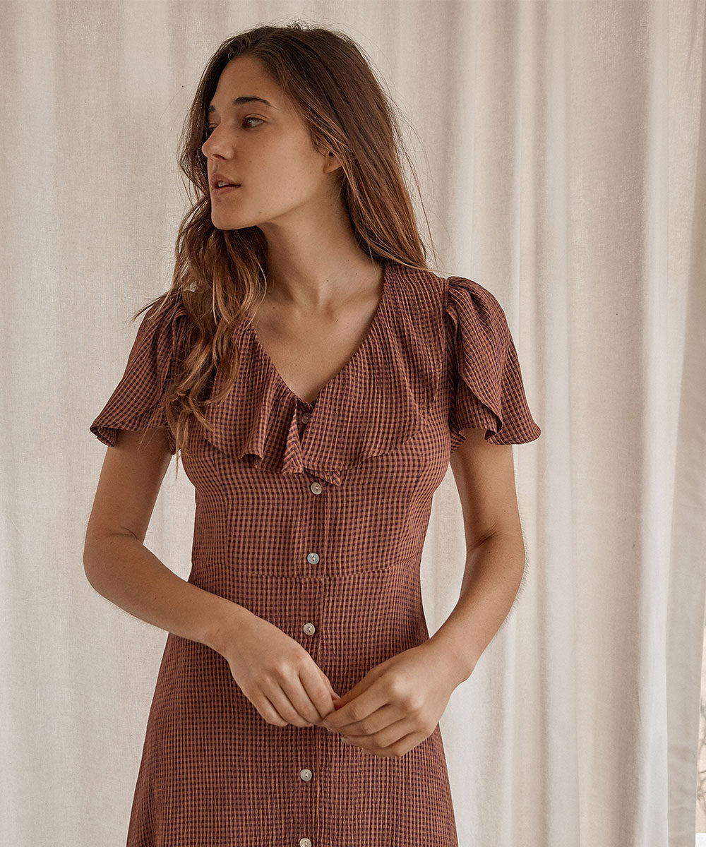 The Daisy Dress | Eggplant Gingham
