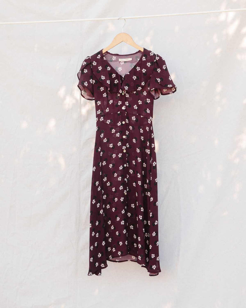 The Daisy Dress | Maroon Garden (Imperfect)