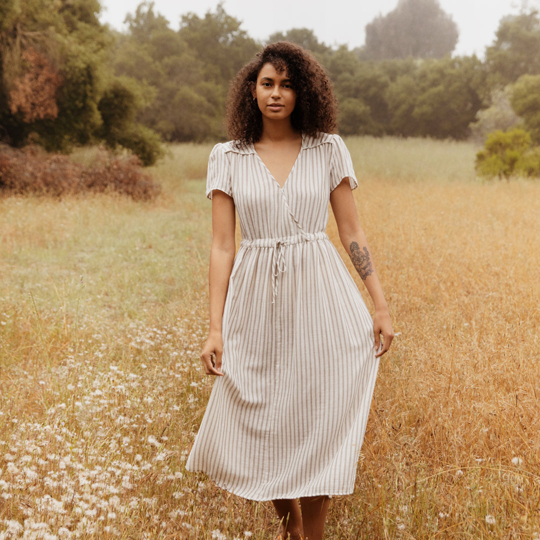 The Dawn Dress | Sand Dollar Stripe