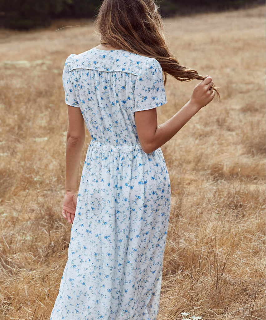 The Dawn Dress | White and Blue Floral (Lined) image 11
