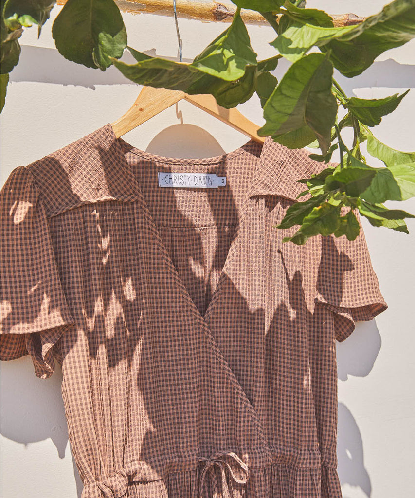 The Dawn Dress | Mocha Gingham