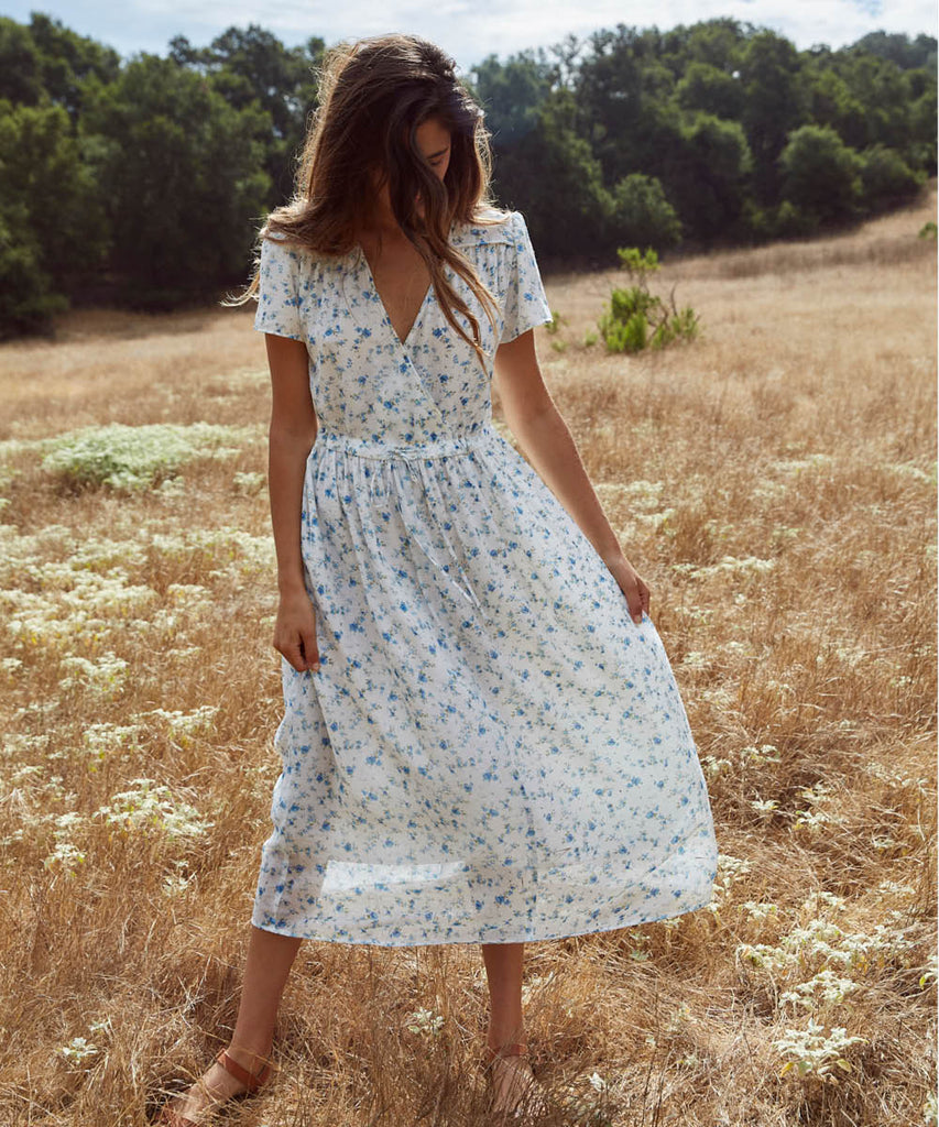 The Dawn Dress | White and Blue Floral (Lined) image 2