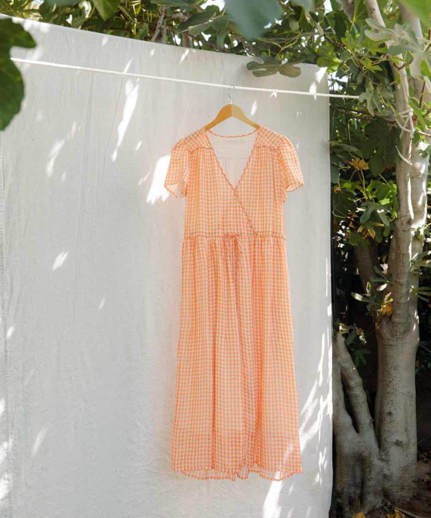 The Dawn Dress | Apricot Checker Silk (Lined & 3-of-a-Kind)