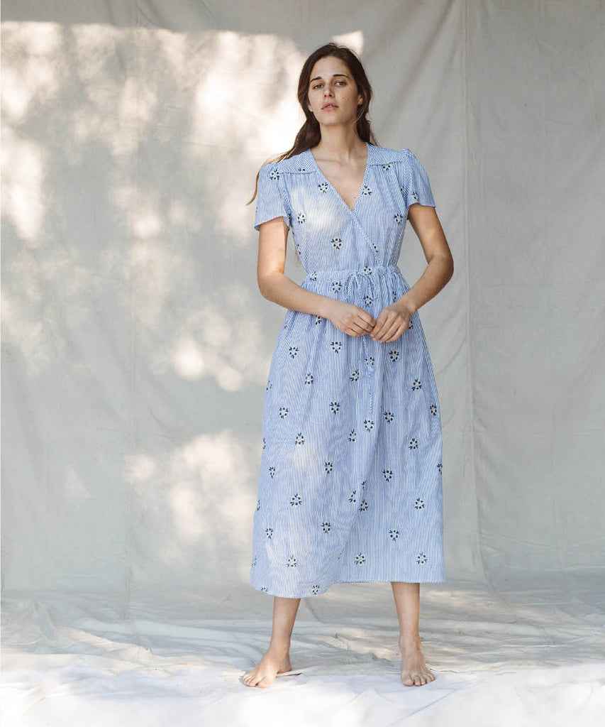 The Dawn Dress | Stripe Blossom Embroider