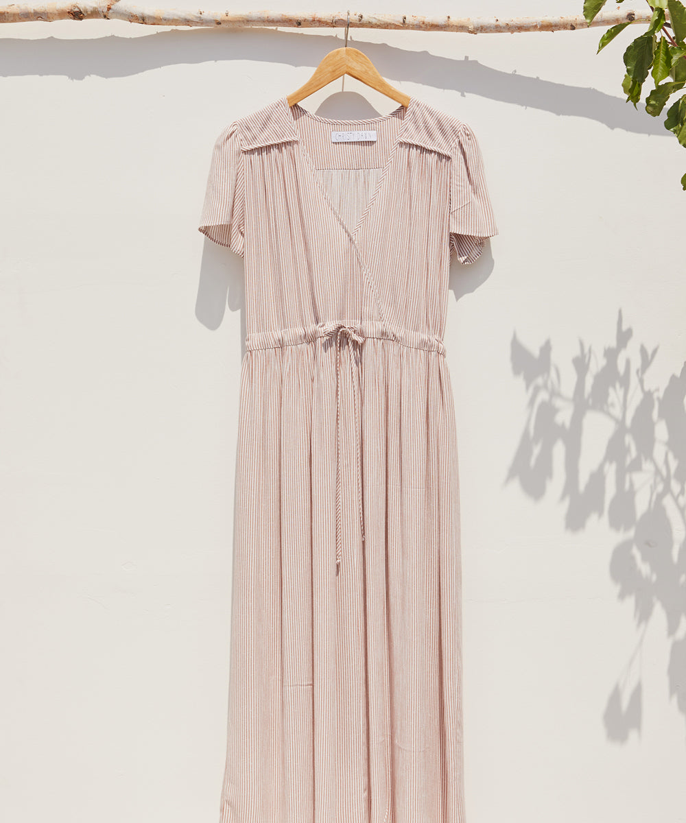 The Dawn Dress | Washed Clay Stripe