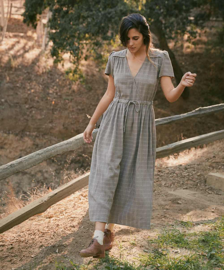 The Dawn Dress | Stone Grey Plaid