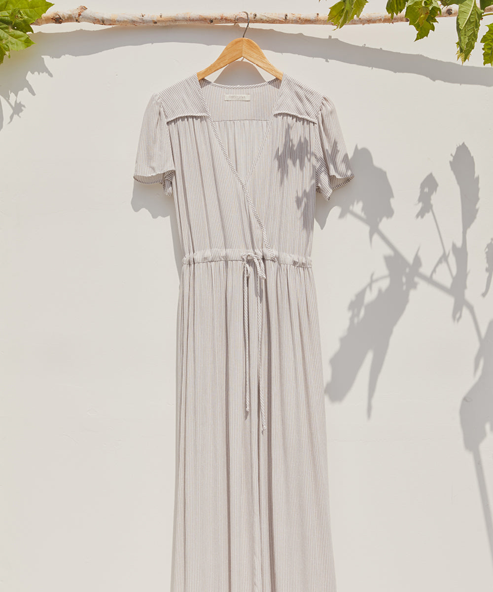 The Dawn Dress | Taupe Stripe