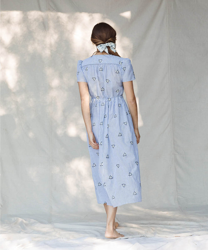 The Dawn Dress | Stripe Blossom Embroider image 6