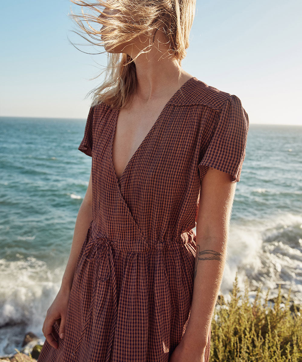 The Dawn Dress Petites | Eggplant Gingham