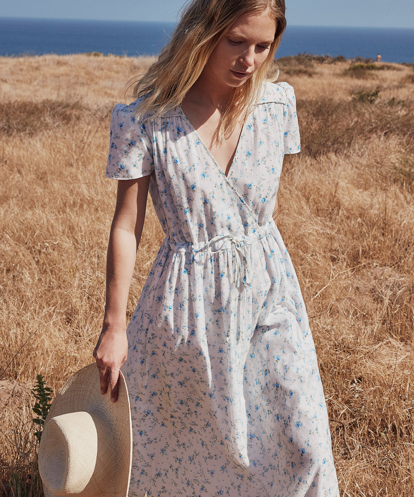The Dawn Dress Petites | White and Blue Floral image 5