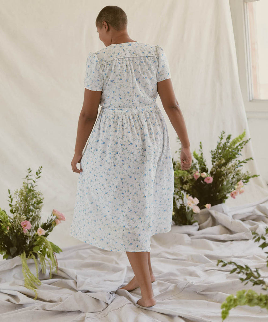 The Dawn Dress | White and Blue Floral (Lined)