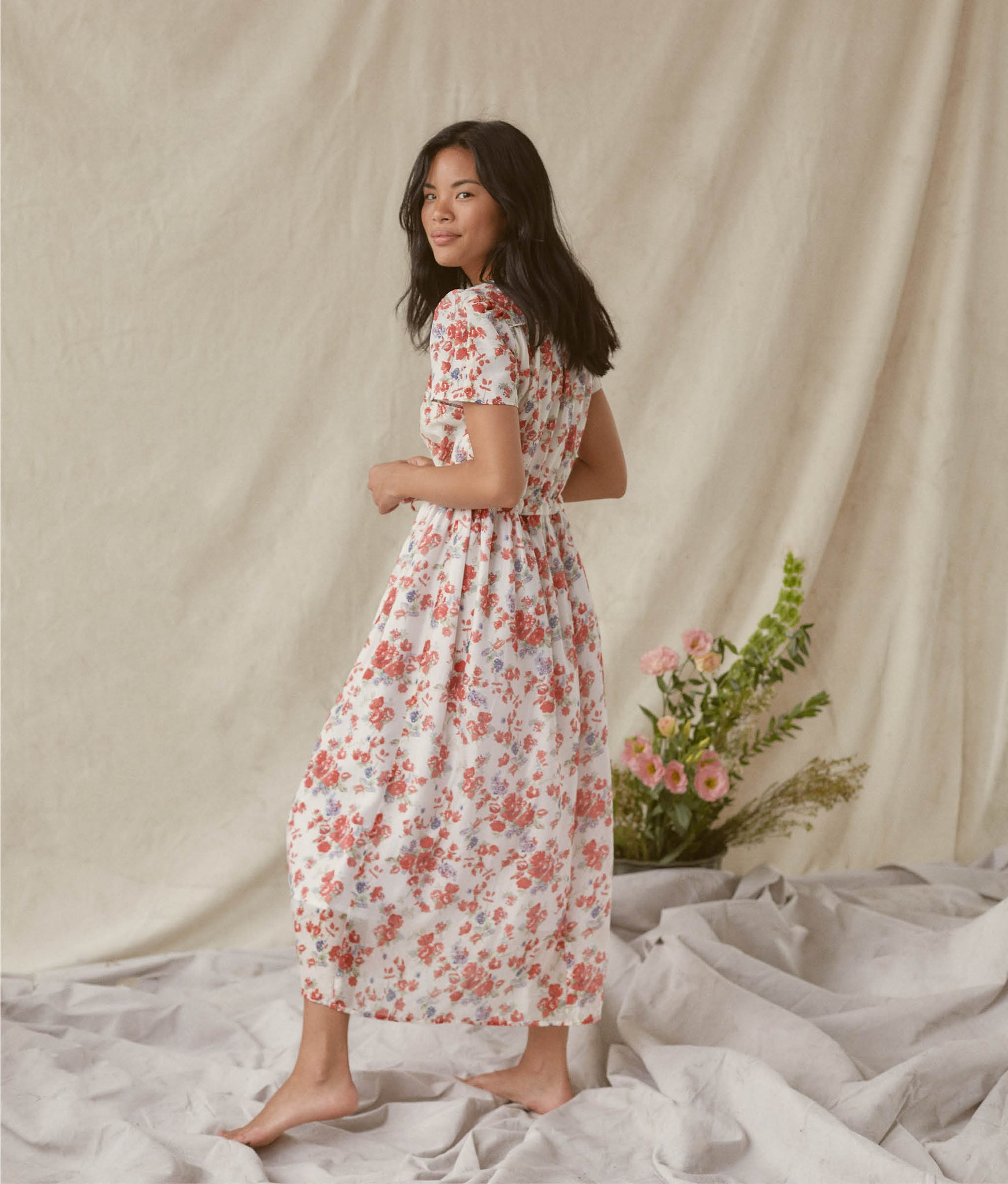 The Dawn Dress | Vermillion Bloom (Lined)