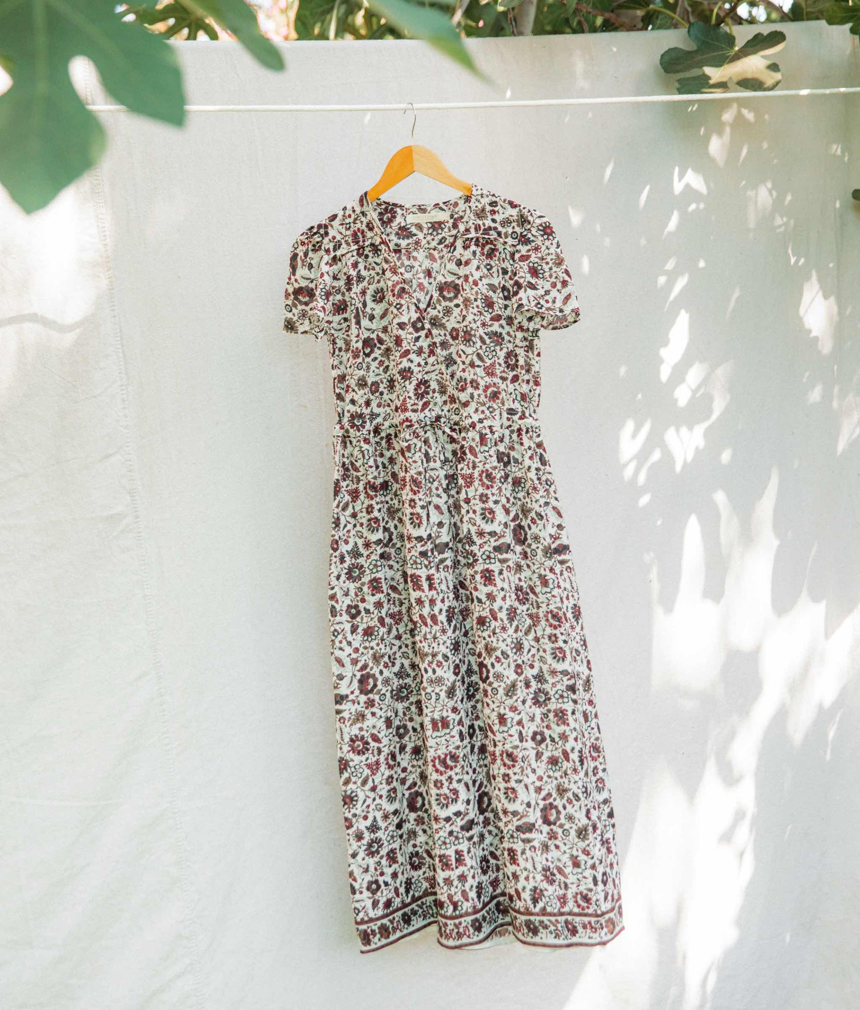 The Dawn Dress | Maroon Garden Silk