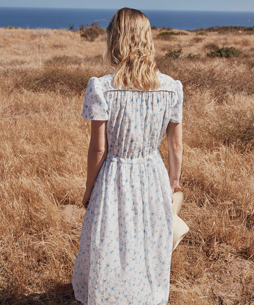 The Dawn Dress Petites | White and Blue Floral image 7