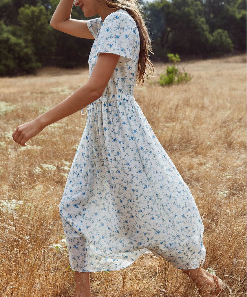 The Dawn Dress | White and Blue Floral (Lined) image 5