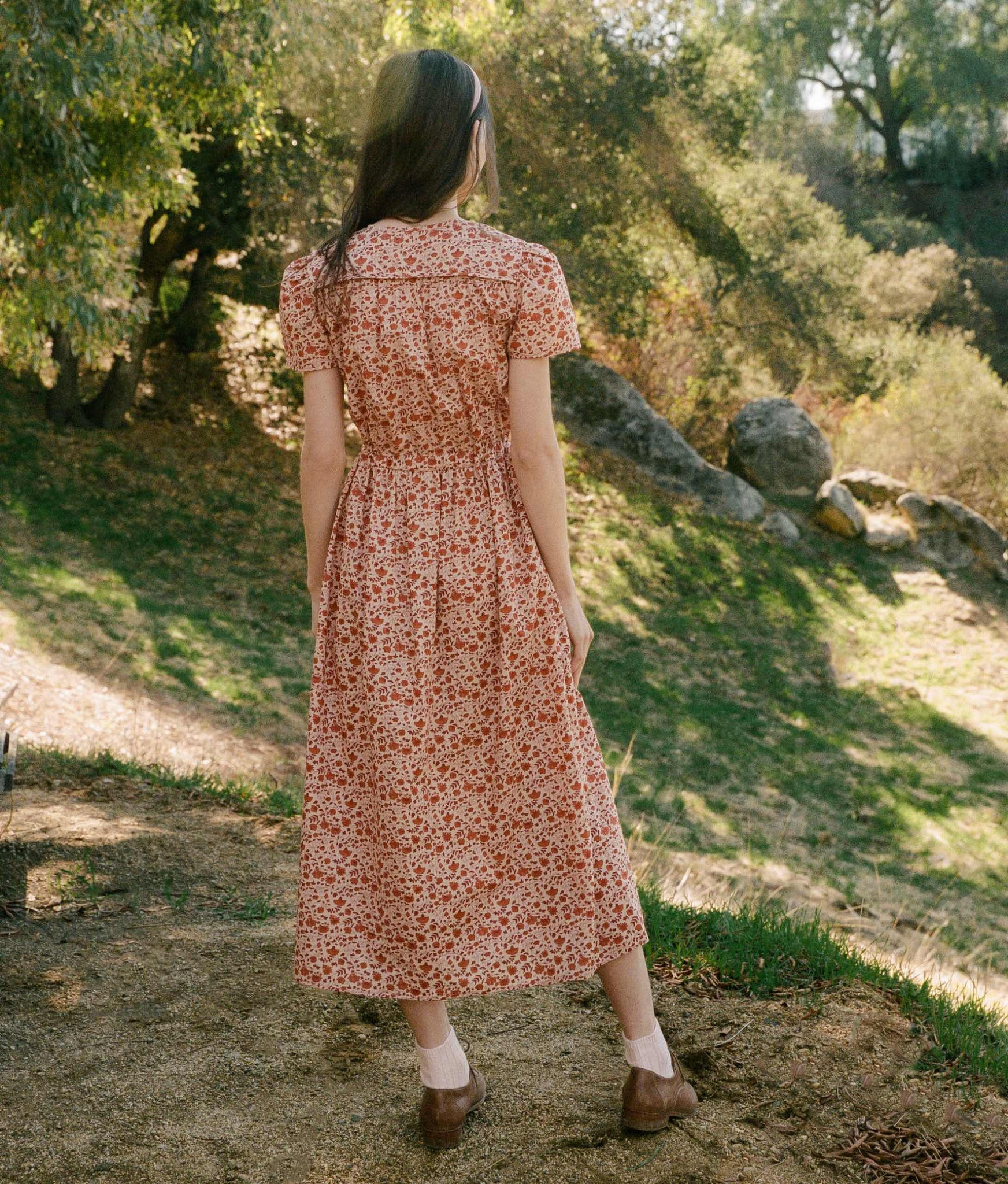 The Dawn Dress | Mandarin Ditsy Field