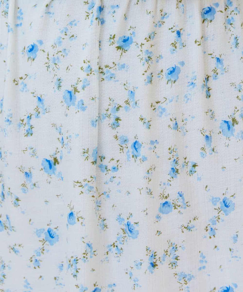 The Dawn Dress Extended | White and Blue Floral (Lined)