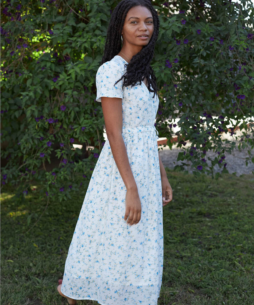The Dawn Dress Petites | White and Blue Floral (Lined)