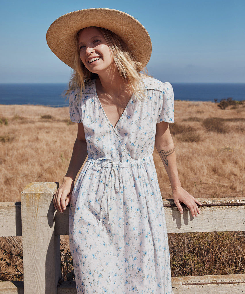 The Dawn Dress Petites | White and Blue Floral image 9