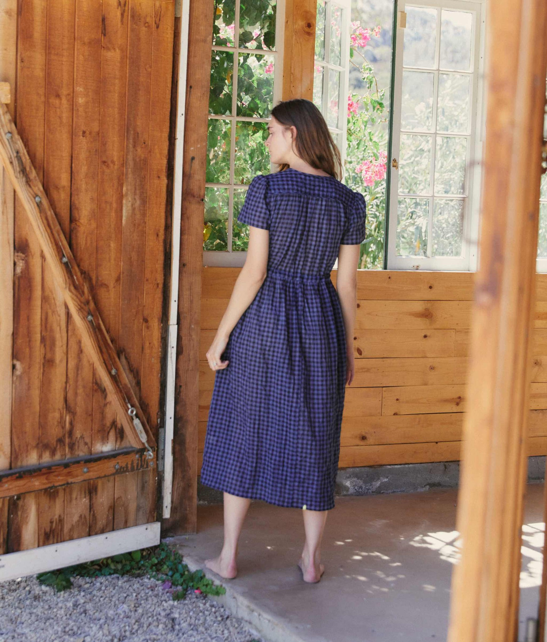 The Dawn Dress | Slate Blue Checker