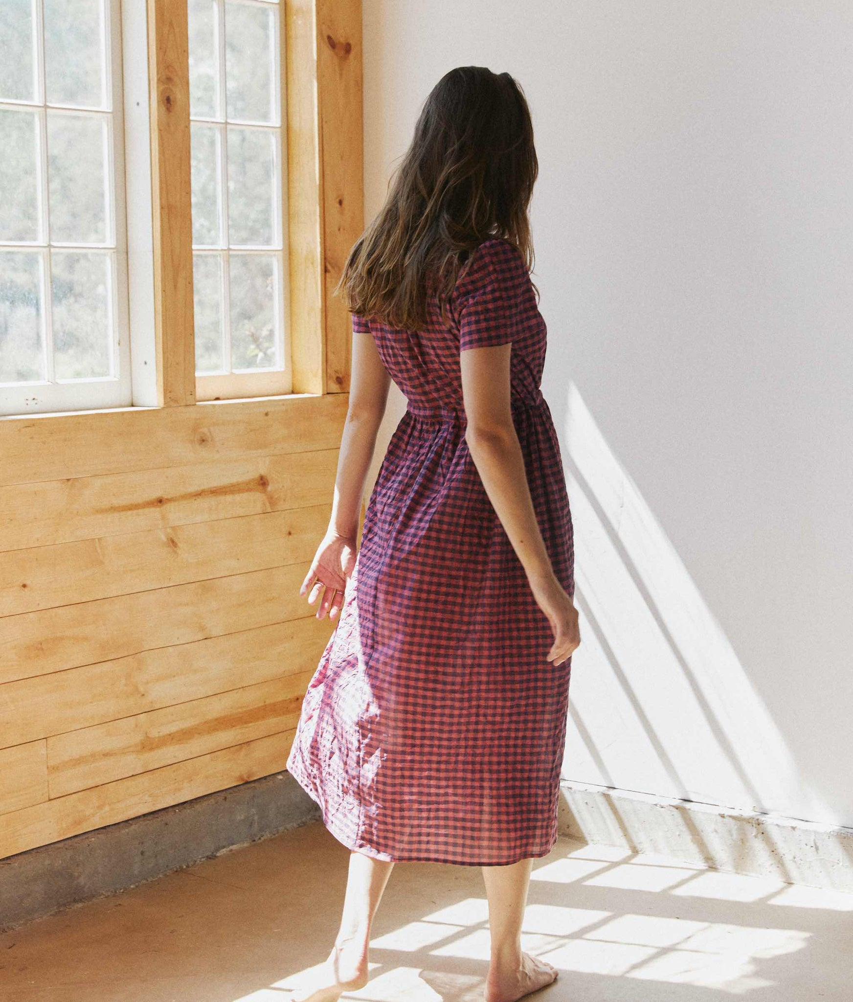 The Dawn Dress | Dusty Crimson Checker
